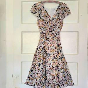 Vintage 90's Esprit Foral Ruffle Chiffon Dress
